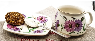 """Чайная пара """"Улыбка"""", краски, золото с рельефным рисунком """"Астры"""" (фото, Чайная пара"""