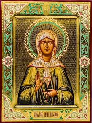 Блаженая Матрона Московская, рукописная икона с золочением и ковчегом 24 х 30 см.
