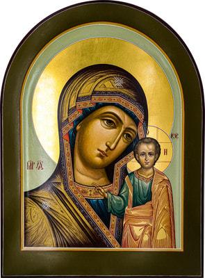 Казанская икона Божией Матери, арочная рукописная икона с золочением и ковчегом 30 х 40 см.