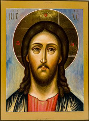 Икона Спасителя «Спас оплечный», рукописная икона с золочением 10 Х 15 см.