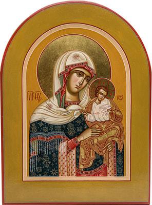 Икона Богородицы Коневская, арочная рукописная икона с золочением и ковчегом 21 х 28 см.