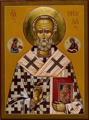 Икона Николая Чудотворца, рукописная икона с золочением и ковчегом 24 х 30 см.