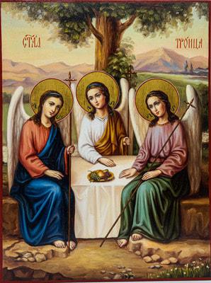 Икона Святой Троицы, рукописная икона с золочением и ковчегом 21 х 28 см.