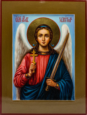 Икона Ангела - Хранителя, рукописная икона с золочением и ковчегом 21 х 28 см.