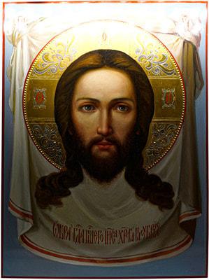 Икона Спасителя «Спас Нерукотворный» рукописная икона с золочением и ковчегом 30 х 40 см.