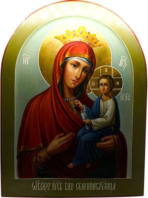 Икона Богородицы «Скоропослушница», арочная рукописная икона с золочением и ковчегом 30 х 40 см.