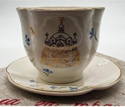 """Чайная пара """"Цветы"""", краски, золото с рельефным рисунком """"Собор"""" (фото, Чайная пара"""
