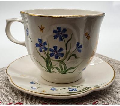 """Чайная пара """"Цветы"""", краски, золото с рельефным рисунком """"Васильки"""" (фото, Чайная пара"""