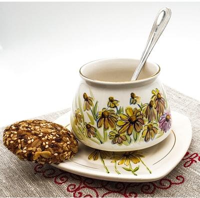 """Чайная пара """"Улыбка"""", краски, золото с рельефным рисунком """"Ромашки"""" (фото, Чайная пара"""