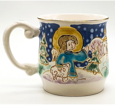 """Кружка """"Средняя"""", соли, золото, с рельефным рисунком """"Ангел с овечкой"""""""