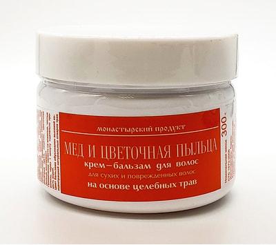 Крем-бальзам для волос Мёд и цветочная пыльца. Для сухих и поврежденных волос на основе целебных трав. 300 г.