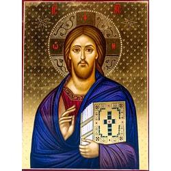 Икона Спасителя «Господь Вседержитель» (Пантократор), рукописная икона с золочением 10 Х 15 см.
