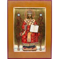 Икона Спасителя «Спас Архиерей Великий», рукописная икона с золочением и ковчегом 21 х 28 см.